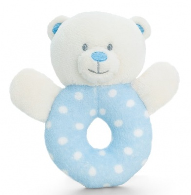 Baby's First RING RATTLE by Keel Toys - BLUE/WHITE SPOTS