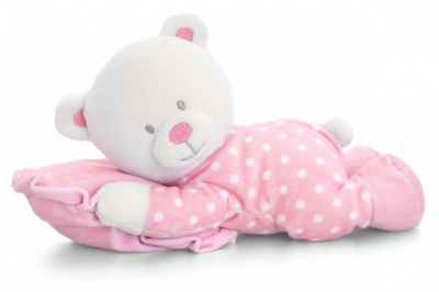 Baby's First Teddy with PILLOW by Keel Toys - PINK/WHITE SPOTS