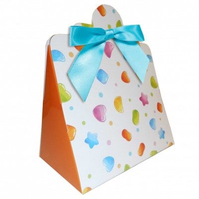 Triangle Gift Boxes with Mini Bows - LARGE CANDY/BLUE BOWS (pk10)
