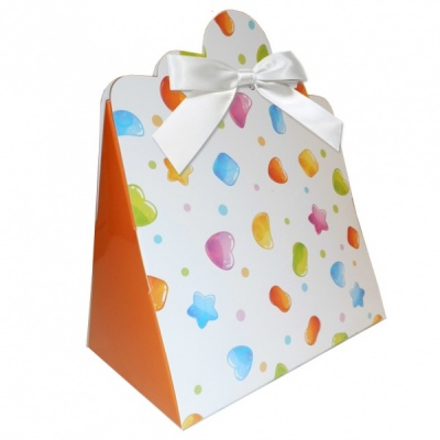 Triangle Gift Boxes with Mini Bows - LARGE CANDY/WHITE BOWS (pk10)