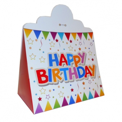 Triangle Gift Box (pk 10 Large) - HAPPY BIRTHDAY