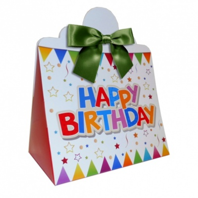 Triangle Gift Boxes with Mini Bows - LARGE BIRTHDAY/GREEN BOWS (pk10)