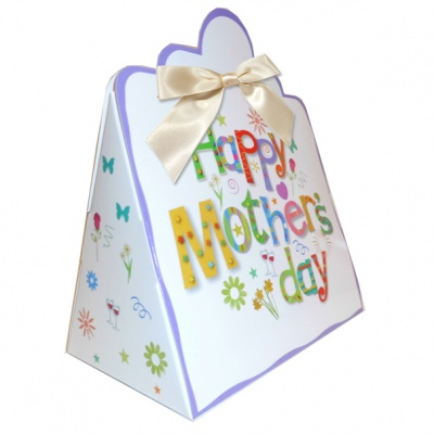Triangle Gift Boxes with Mini Bows - LARGE MOTHER'S DAY/CREAM BOWS (pk10)