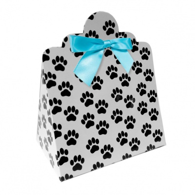 Triangle Gift Boxes with Mini Bows - LARGE PAW PRINTS/BLUE BOWS (pk10)