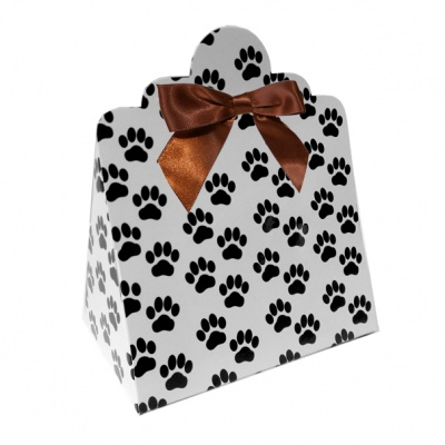 Triangle Gift Boxes with Mini Bows - LARGE PAW PRINTS/BROWN BOWS (pk10)