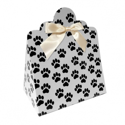 Triangle Gift Boxes with Mini Bows - LARGE PAW PRINTS/CREAM BOWS (pk10)