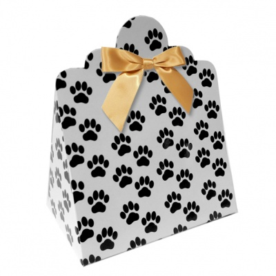 Triangle Gift Boxes with Mini Bows - LARGE PAW PRINTS/GOLD BOWS (pk10)