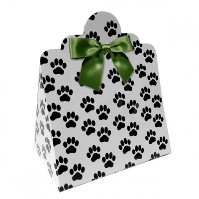 Triangle Gift Boxes with Mini Bows - LARGE PAW PRINTS/GREEN BOWS (pk10)