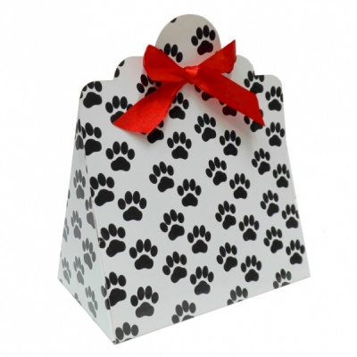 Triangle Gift Boxes with Mini Bows - LARGE PAW PRINTS/RED BOWS (pk10)