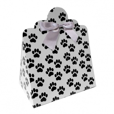 Triangle Gift Boxes with Mini Bows - LARGE PAW PRINTS/SILVER BOWS (pk10)