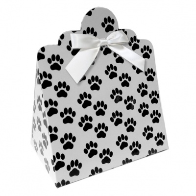 Triangle Gift Boxes with Mini Bows - LARGE PAW PRINTS/WHITE BOWS (pk10)