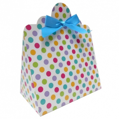 Triangle Gift Boxes with Mini Bows - LARGE SPOTS/BLUE BOWS (pk10)