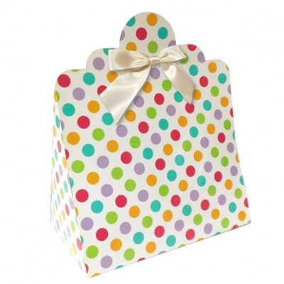 Triangle Gift Boxes with Mini Bows - LARGE SPOTS/CREAM BOWS (pk10)