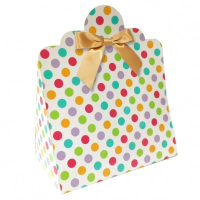 Triangle Gift Boxes with Mini Bows - LARGE SPOTS/GOLD BOWS (pk10)