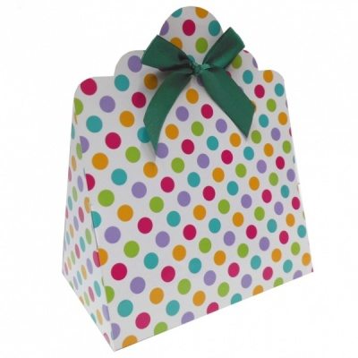 Triangle Gift Boxes with Mini Bows - LARGE SPOTS/GREEN BOWS (pk10)
