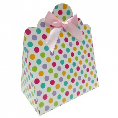 Triangle Gift Boxes with Mini Bows - LARGE SPOTS/PINK BOWS (pk10)