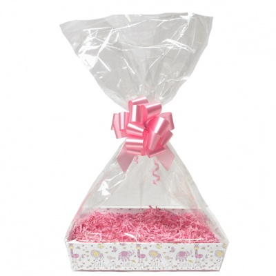 Complete Gift Basket Kit - (Small) LITTLE GIRL TRAY / PINK ACCESSORIES