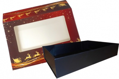 10 x Easy Fold Trays with Sleeves - (20x15x5cm) SMALL BLACK TRAYS/REINDEER SLEEVES