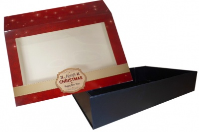 10 x Easy Fold Trays with Sleeves - (20x15x5cm) SMALL BLACK TRAYS/MERRY CHRISTMAS SLEEVES