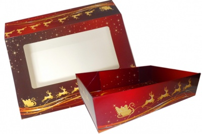 10 x Easy Fold Trays with Sleeves - (20x15x5cm) SMALL REINDEER TRAYS/REINDEER SLEEVES