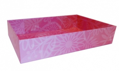 Easy Fold Gift Tray (20x15x5cm) - Small PINK FLOWERS