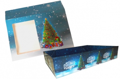 10 x Easy Fold Trays with Sleeves - (20x15x5cm) SMALL XMAS TREE TRAYS/XMAS TREE SLEEVES