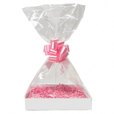 Complete Gift Basket Kit - (Small) WHITE EASY FOLD TRAY/PINK ACCESSORIES