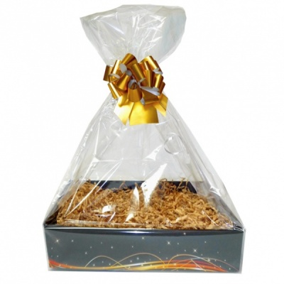 Complete Gift Basket Kit - (Large) BLACK SWIRL EASY FOLD TRAY / GOLD ACCESSORIES