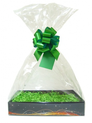 Complete Gift Basket Kit - (Large) BLACK SWIRL EASY FOLD TRAY / GREEN ACCESSORIES