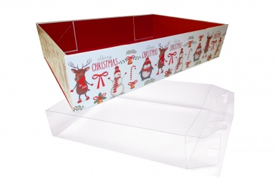 10 x Easy Fold Trays with Acetate Boxes - (20x15x5cm) SMALL CHRISTMAS CHARACTER TRAYS/CLEAR ACETATE BOXES