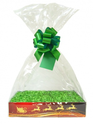 Complete Gift Basket Kit - (Small) REINDEER EASY FOLD TRAY/GREEN ACCESSORIES