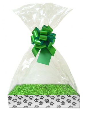 Complete Gift Basket Kit - (Small) PAW PRINTS EASY FOLD TRAY/GREEN ACCESSORIES
