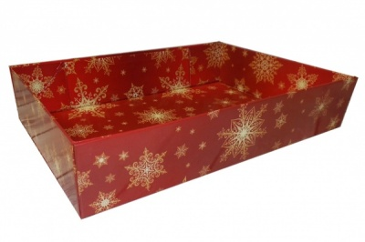 Easy Fold Gift Tray (30x20x6cm) - Medium RED/GOLD SNOWFLAKE