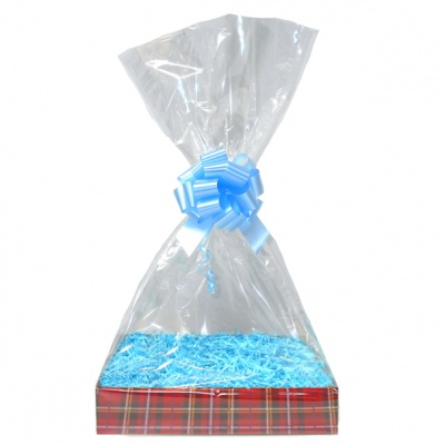 Complete Gift Basket Kit - (Medium) TARTAN EASY FOLD TRAY / BLUE ACCESSORIES