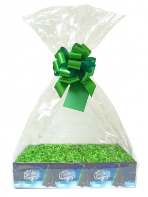 Complete Gift Basket Kit - (Small) CHRISTMAS TREE EASY FOLD TRAY/GREEN ACCESSORIES