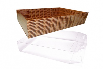 10 x Easy Fold Trays with Acetate Boxes - (20x15x5cm) SMALL WICKER TRAYS/CLEAR ACETATE BOXES