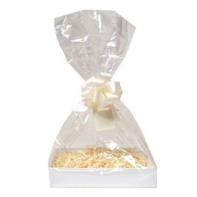 Complete Gift Basket Kit - (Medium) WHITE EASY FOLD TRAY / CREAM ACCESSORIES