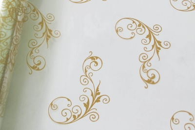 Cellophane Roll 80cm x 20m - GOLD SCROLL