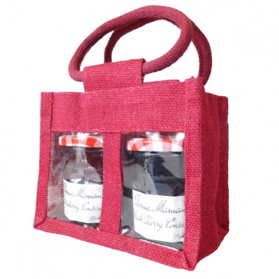 2 JAR JUTE BAG with Window, Partition and Cotton Corded Handles -17x10x14cm high - RED WINE
