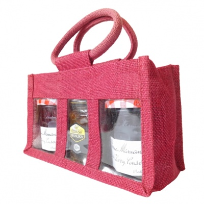 3 JAR JUTE BAG with Window, Partition and Cotton Corded Handles - 24x10x14cm high - RED WINE