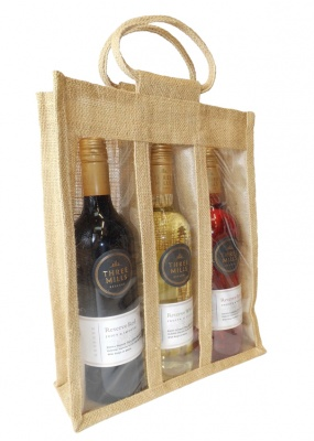 TRIPLE WINE BOTTLE JUTE BAG with Window, Partition and Cotton Corded Handles - NATURAL