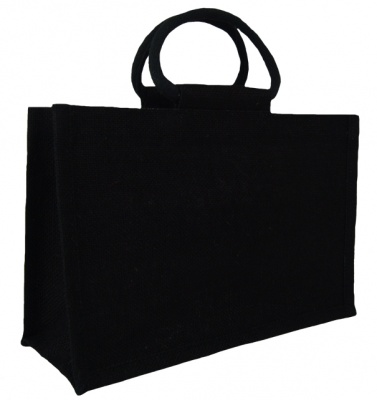 LARGE Open Jute Bag with Cotton Corded Handles - 35x15x25cm high - BLACK
