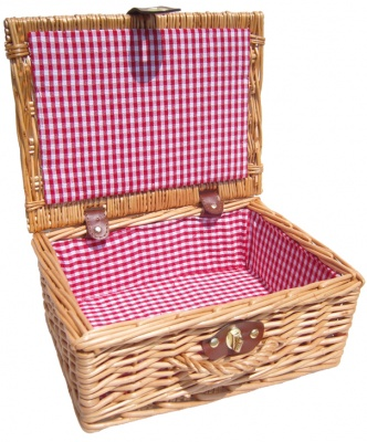 Premium NATURAL Hamper with RED GINGHAM LINING (12'') 30x23x13cm - SMALL