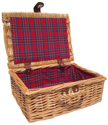 Premium NATURAL Hamper with TARTAN LINING (12'') 30x23x13cm - SMALL