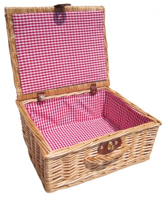 Premium NATURAL Hamper with RED GINGHAM LINING (14'') 36x30x16cm - MEDIUM