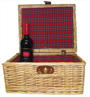 Premium NATURAL Hamper with TARTAN LINING (14'') 36x30x16cm - MEDIUM