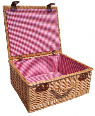 Premium NATURAL Hamper with RED GINGHAM LINING (18'') 45x38x20cm - LARGE