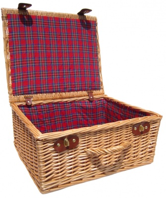 Premium NATURAL Hamper with TARTAN LINING (18'') 45x38x20cm - LARGE