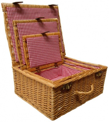 Premium NATURAL Hampers - SET OF 3 - RED GINGHAM