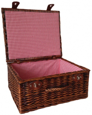Premium VINTAGE BROWN Hamper with RED GINGHAM LINING (18'') 45x38x20cm - LARGE